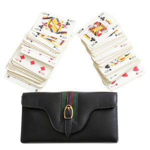 Gucci Black Leather Travel Case Game Set + Cards